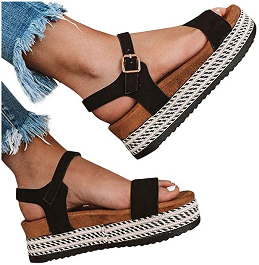 Amazon.com: Women Flat Wedge Sandals Thick Bottom Soft Sandals .