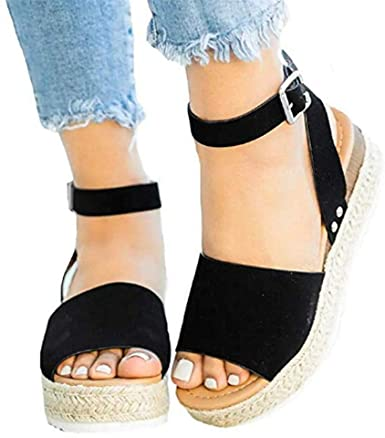 Espadrilles for Women Wedge, 2020 Boho Flat Wedge Strappy Sandals .