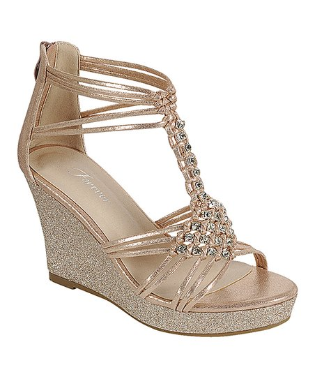 Rose Gold Glitter Woven Diamond Hapyy Wedge Sandal - Women | Best .