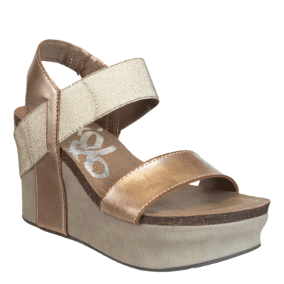 Bushnell in Gold Wedge Sandals | Women's Shoes by OT