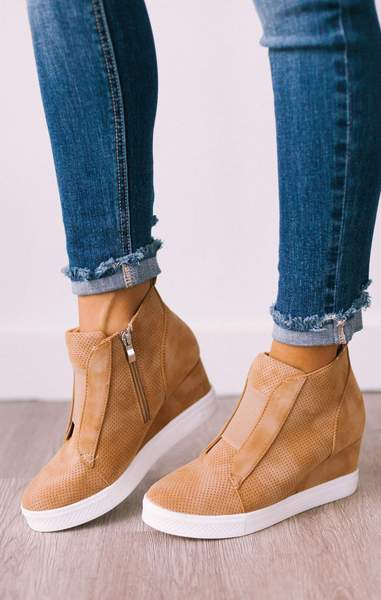 Baskets Compensées Zoey Camel - Lucy Aven