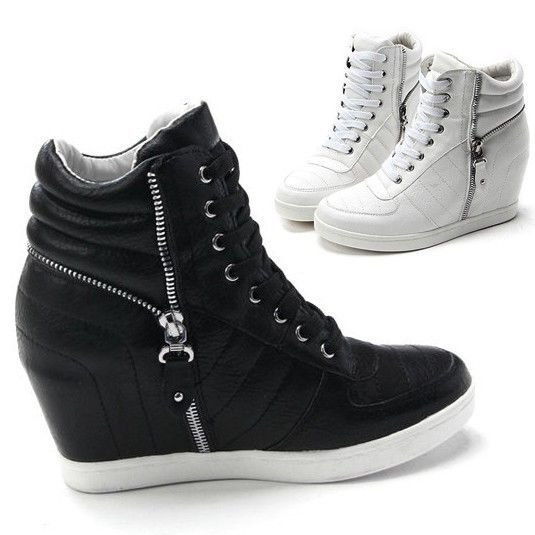 Womens Black White Zippers High Top Hidden Wedge Sneakers Ankle .