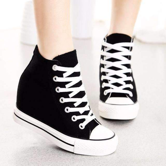 High Top Canvas Fashion Wedge Sneakers For Wom