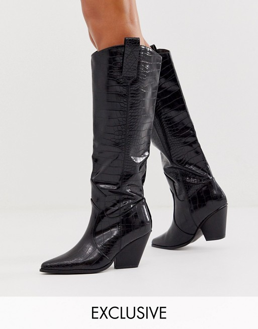 Z_Code_Z Exclusive Nuria vegan knee high western boots in black | AS