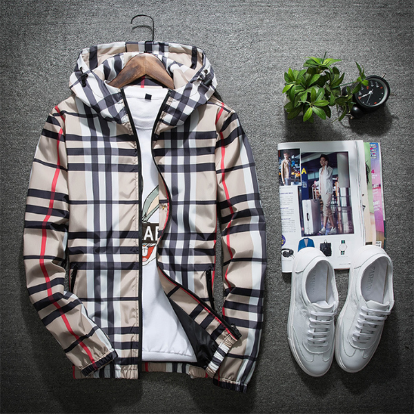 Fashion Men's Plaid Windproof Hooded Jacket | Mens winter fashion .