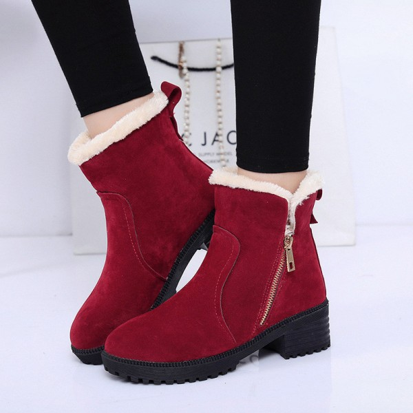 Buy Fashion Women Winter Boots Female Snow Plush Ankle Boots Flock .