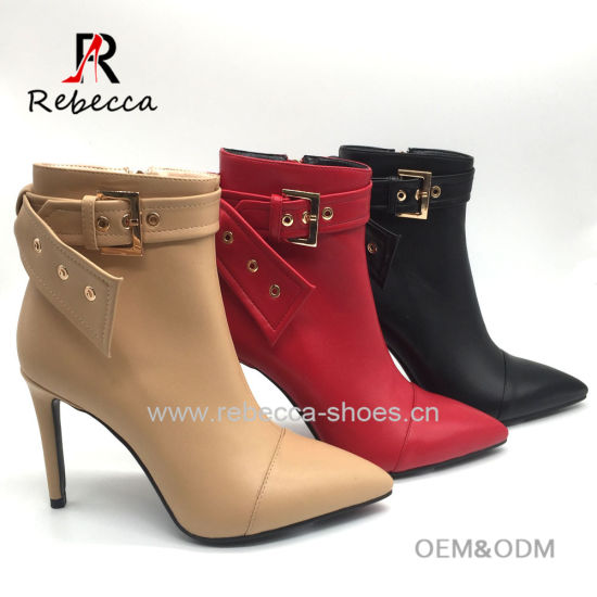 China Women Buckle Leather Winter Ankle Boots Ladied Sexy Shoes .