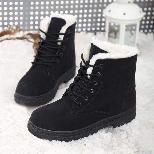 Women Boots Snow Warm Winter Boots Women Shoes Lace Up Fur Ankle Bo.