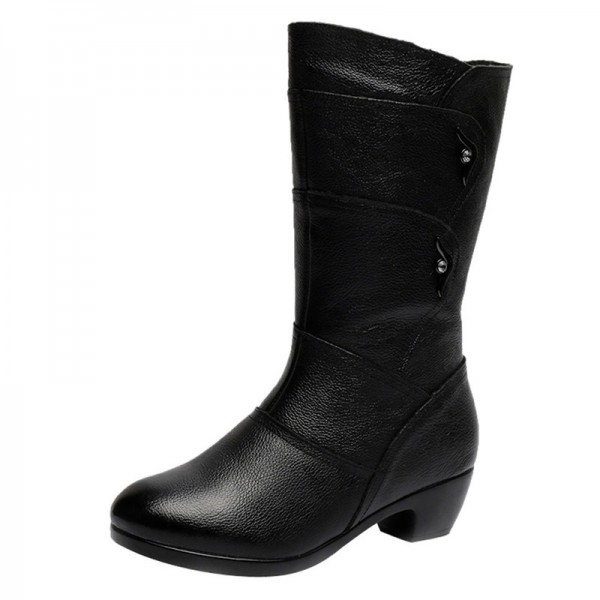 Buy Ladies Knee High Winter Boots Soft Leather Boots Woman Black .