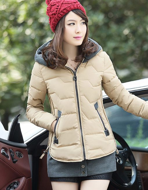 Women's Slim Fit Winter Coat Short Jacket with Removable Hem .
