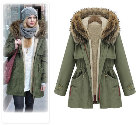 2015 New women Parkas Thick Cotton Padded Lining winter coat army .