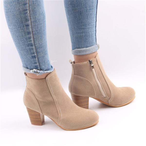 Laamei 2018 Women Boots Flock Ankle Boots Spring Autumn Women .