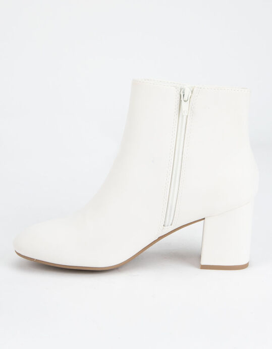 DELICIOUS Clean Ankle Stacked White Womens Boots - WHITE .