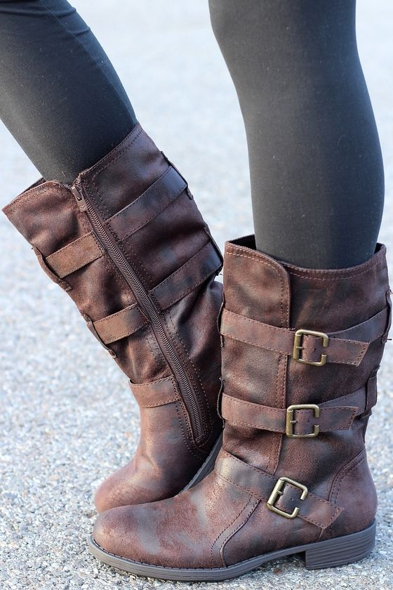 Charlie Three Buckle Suede Wash Mid-Calf Boots | Calf boots outfit .