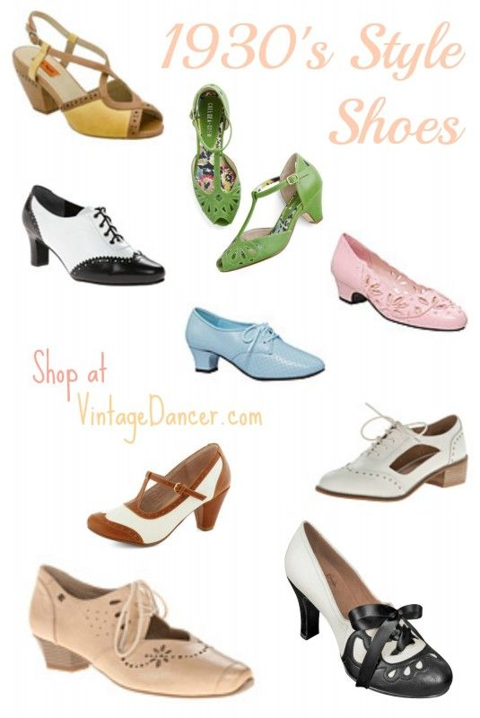 1930s Style Shoes for Women | 1930s shoes, 1930s fashion, Shoe sty