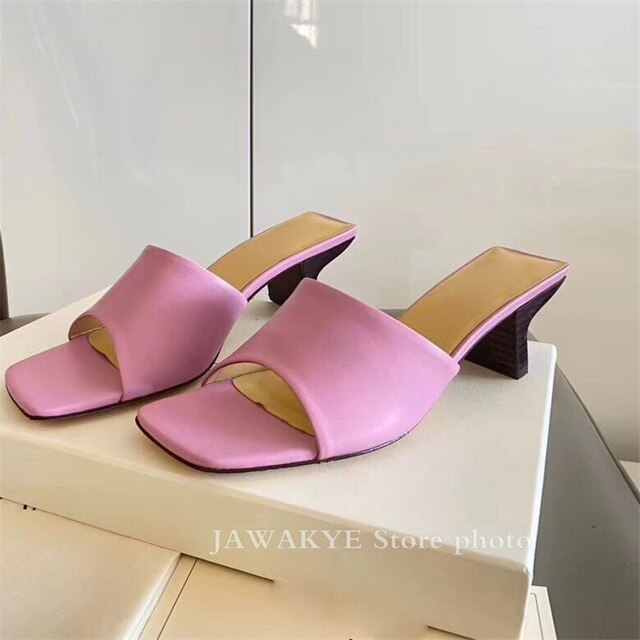 Wooden Effects Kitten Heel Summer Slippers Real Leather Candy .