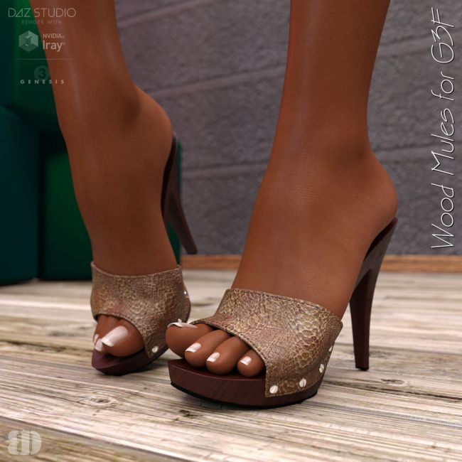 Wood Mules for G3F | Footwear for Poser and Daz Stud