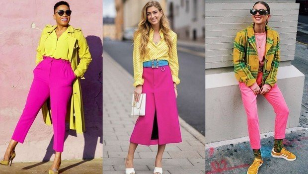 Yellow and pink combination fashion